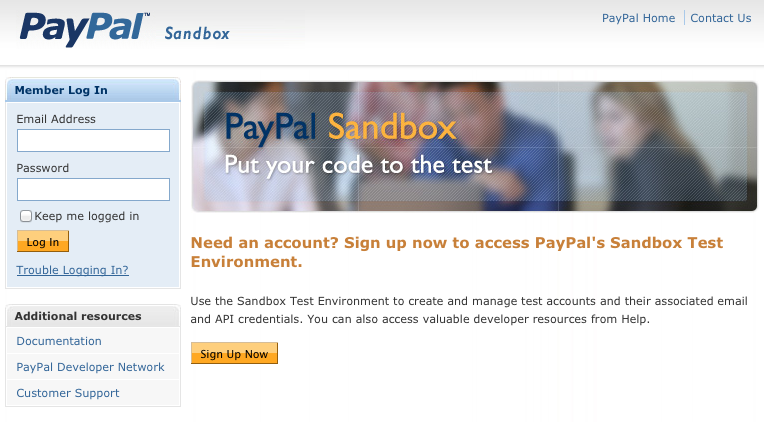 Home of PayPal Sandbox