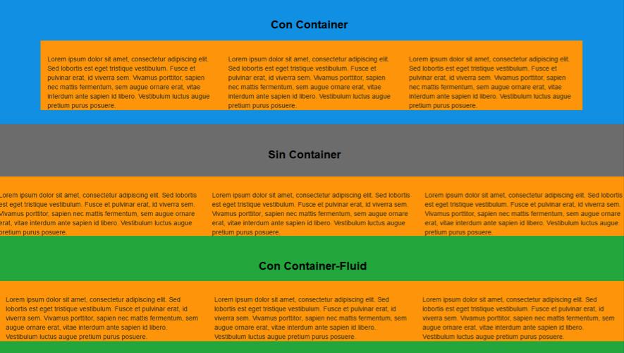 sistema grid con container, sin container y con container-fluid