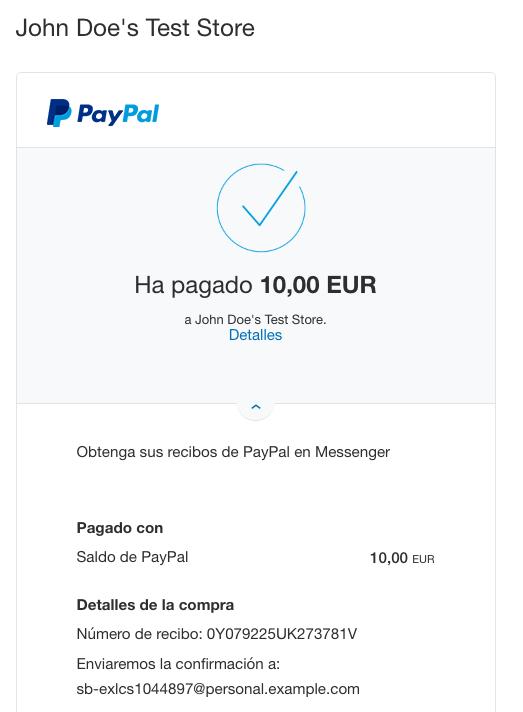 paypal sandbox recibo