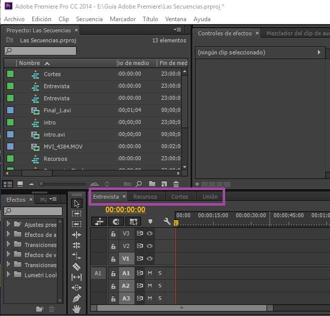 Crear secuencia Adobe Premiere 1
