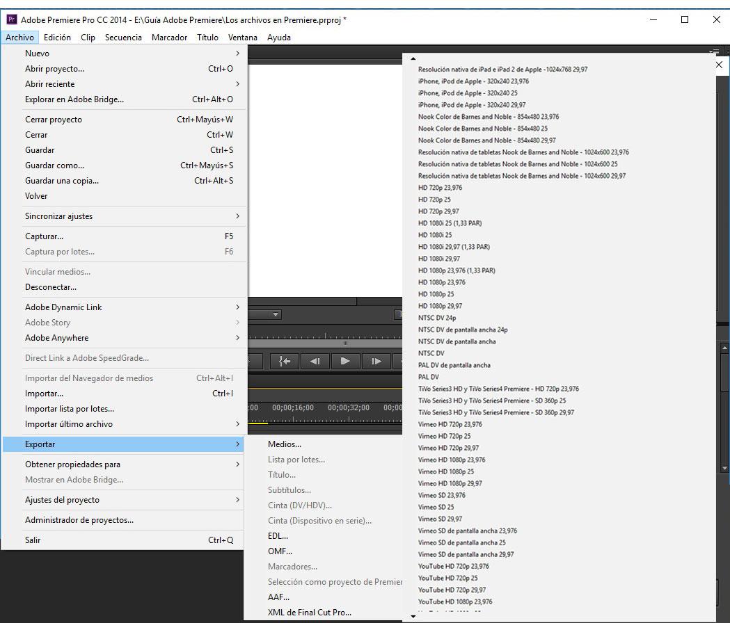 Exportar Archivos en Adobe Premiere