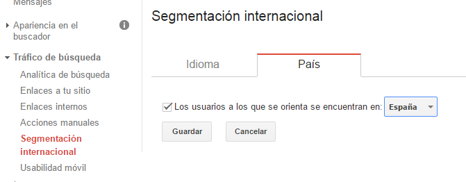 search console segmentación SEO internacional