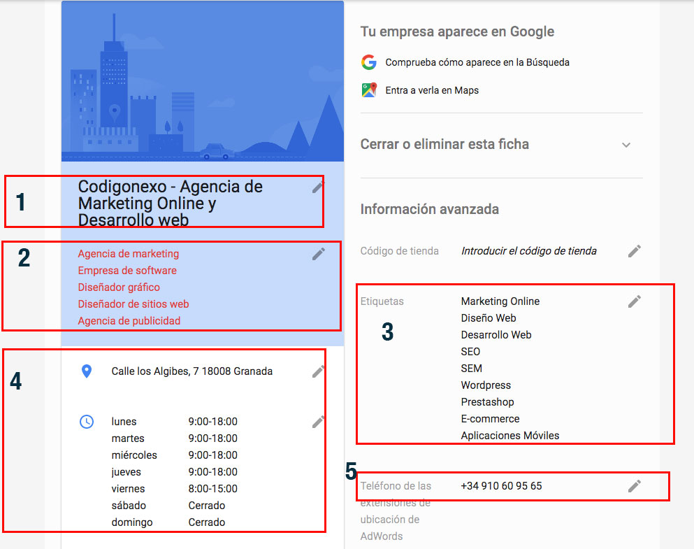qué rellenar en google m business